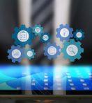 Hier wird ein Tablet und die Bestandteile von Digital Business angezeigt
